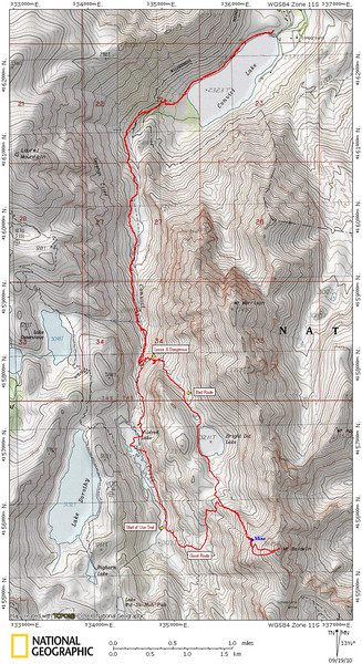 This map shows our route.  We went up Mildred Lake and then continued on past Mildred Lake to where we picked up a use trail (marked on map), and then followed to use trail to the mine and then on to the summit of Mount Baldwin.  This was a very nice route.<br /> <br /> On the way down we decided to go down to Bright Dot Lake and then descend via the outlet stream.  This was a big mistake because it became very loose and dangerous for a while before we hooked back into the regular trail.<br /> <br /> Other than our mistake in descending from Bright Dot Lake, this was a great hike with beautiful views.