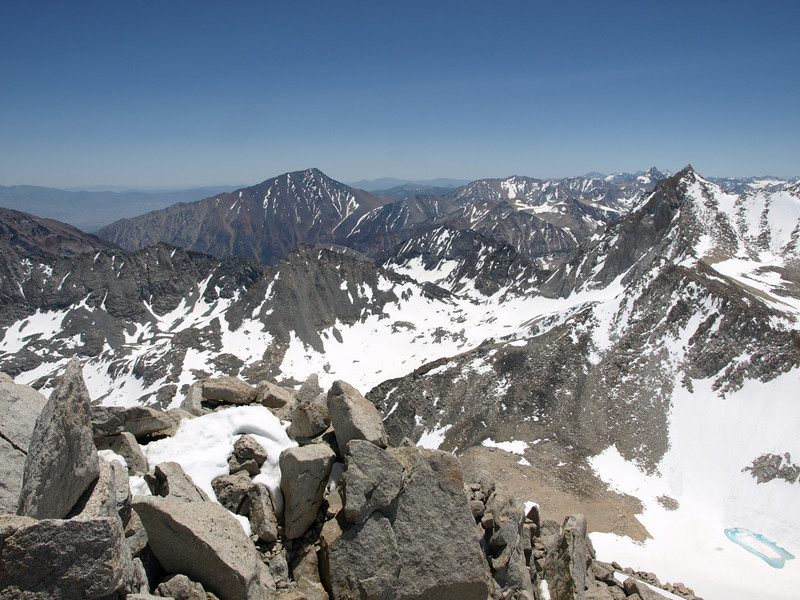 Mount Tom to the left of center and Bear Creek Spire on the right side of the photo - from the summit of Dade.