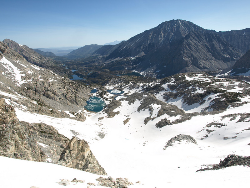 Looking down on LIttle Lakes Valley as I headed up the Couloir - Mount Morgan S to the right.