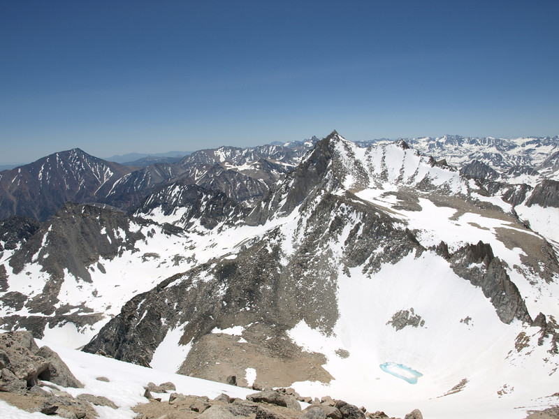 Bear Creek Spire just to the right of Center. Photo take on the summit of Mount Dade.