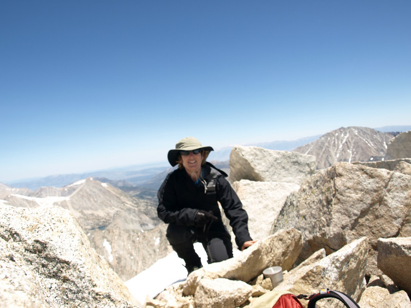 A nice blurry shot of me on the summit of Dade.