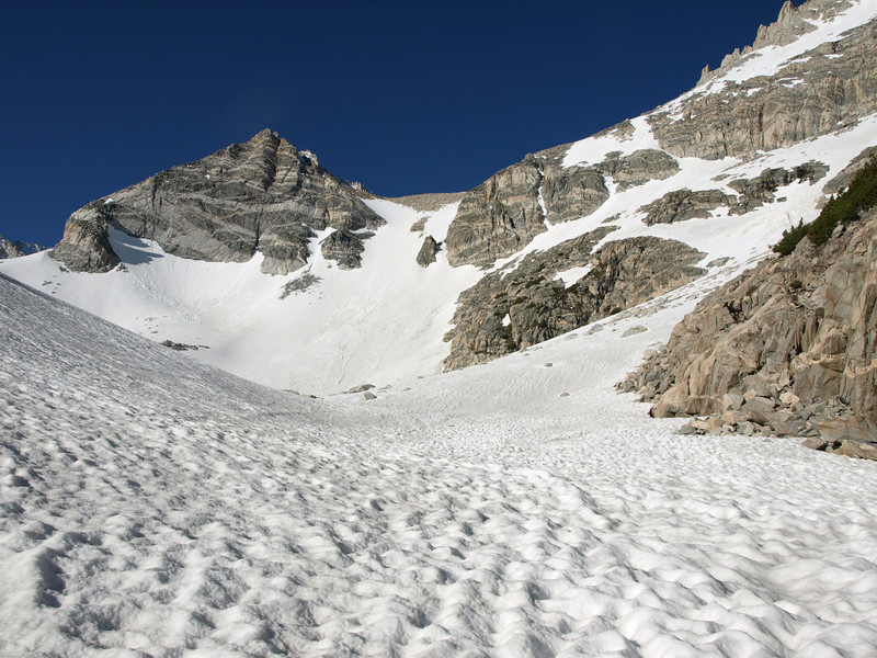 Heading up the snow toward the couloir.  It's about 1000' climb up the Couloir and the angle is a good 40 degrees in places.  The top of the Couloir tops out at about 12,600' and then it's another 1,000' climb to the top of Mount Dade.
