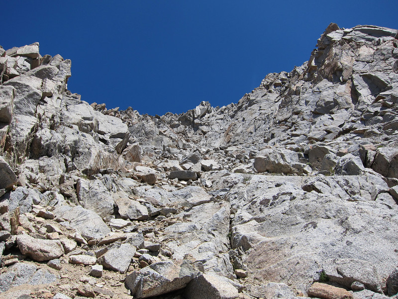 Just pick your way up to the summit ridge from here.  You'll likely have a couple Class 3 moves to make before you get to the summit, but they aren't difficult as far as Class 3 goes.