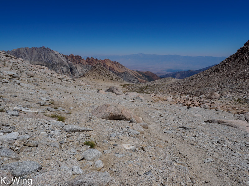I'm back over the Col and working my way back down to Upper Lamarck Lake