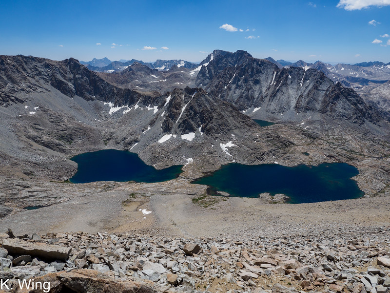 Lakes 11540 and 11546 from the summit of Geothe.