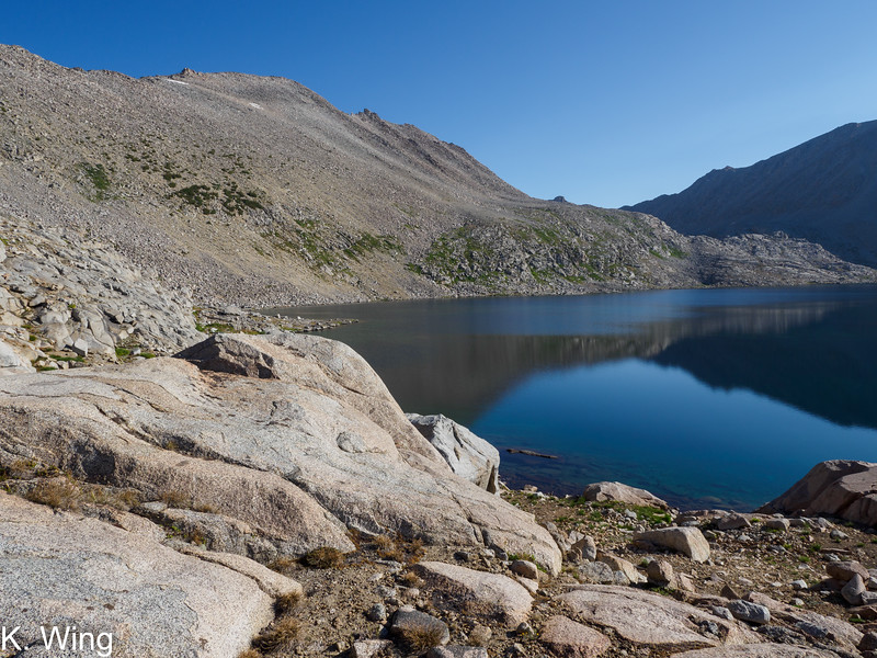 Arriving at Lake 11540 - That is Mount Geothe's summit up above the lake