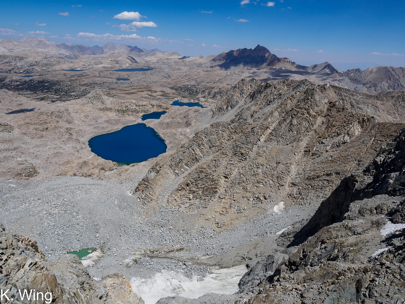 Geothe Lakes and Humphreys Basin - Mount Humphreys in the distance - the sky is hazy.