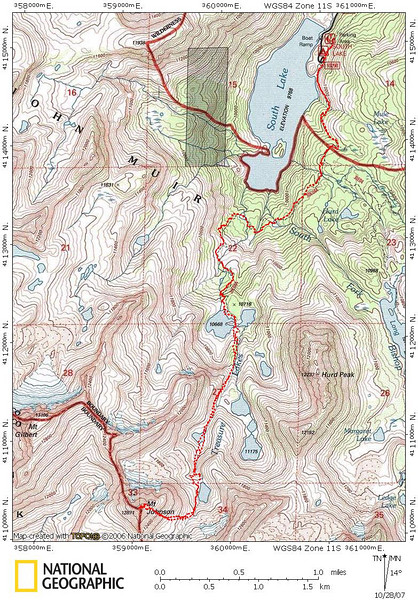 Track of my route - it looks like I hiked through one of the lakes, but the lake was much smaller than on the map - almost dried up.  It's so sad to see it so dry out there.