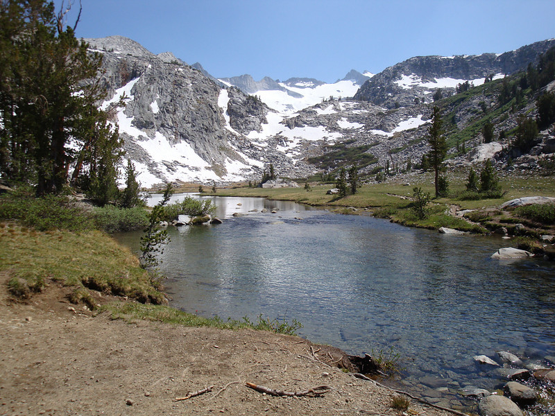The map marks this spot as mile 160 of the JMT - elevation 10,200' and a beautiful spot.