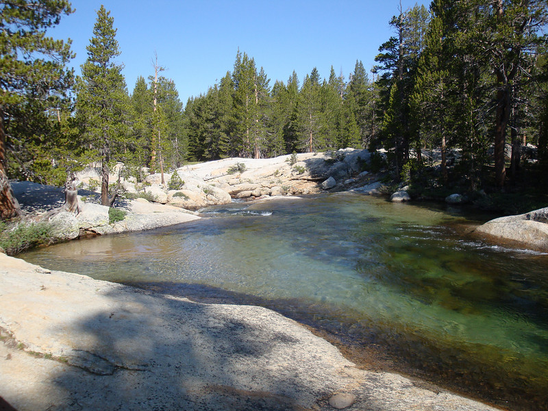I headed southerly from Tuolumne Meadow following the John Muir Trail.  I hiked along the Lyell Fork of the Tuolumne River for miles.  It was beautiful.