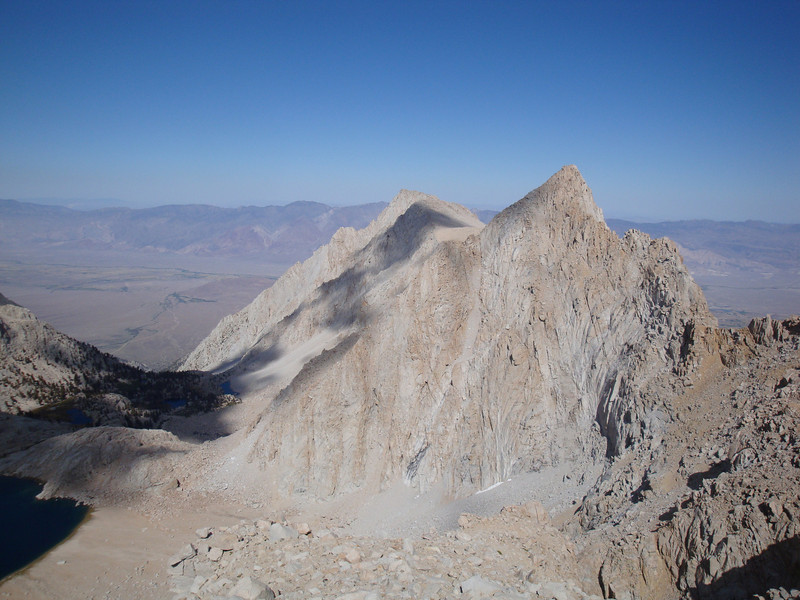 Lone Pine Peak is the shorter peak to the left of the unnamed peak.