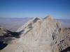 Lone Pine Peak is the shorter peak to the left of the unnamed peak.