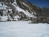 The snow got softer as we got down lower.  You can see my tent from here - the blue dot in the center of the photo.