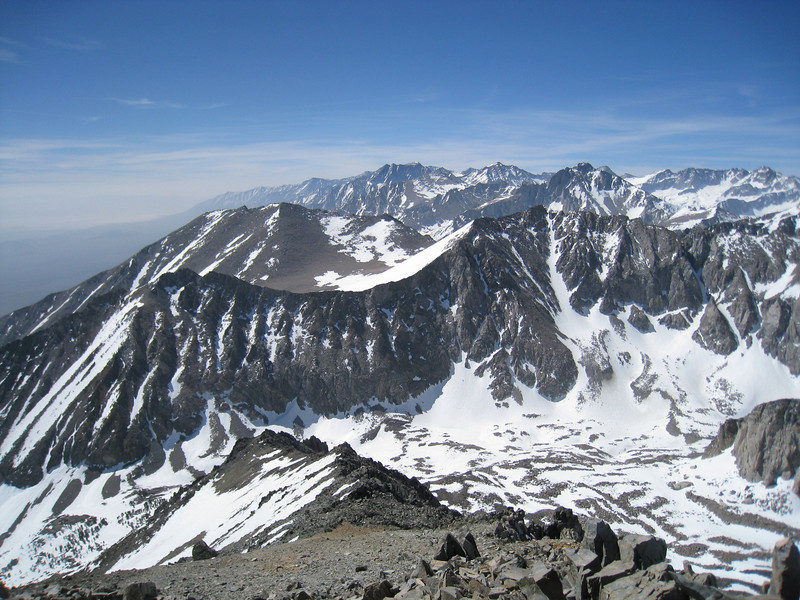 A beautiful view of the peaks SSE of Mary Austin including Kearsarge Peak, Mount Williamson, and University Peak - Looking down you see Little Onion Valley.