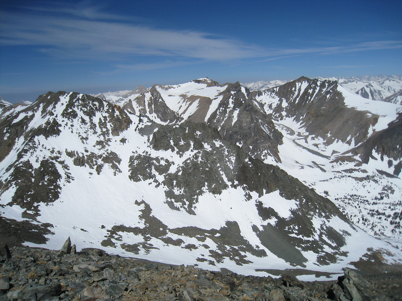 Diamond Peak in the center of the photo - view WNW from the summit of Mary Austin.