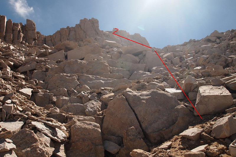 The sun makes it hazy, but this is the way I went up - more or less.