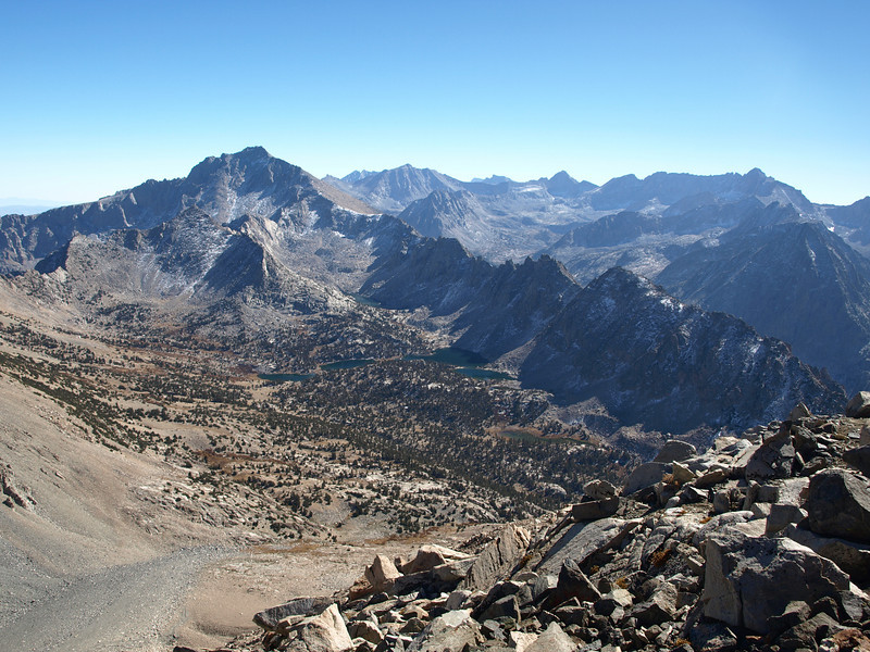 Looking southeasterly - University Peak and Kearsarge Pinnacles.
