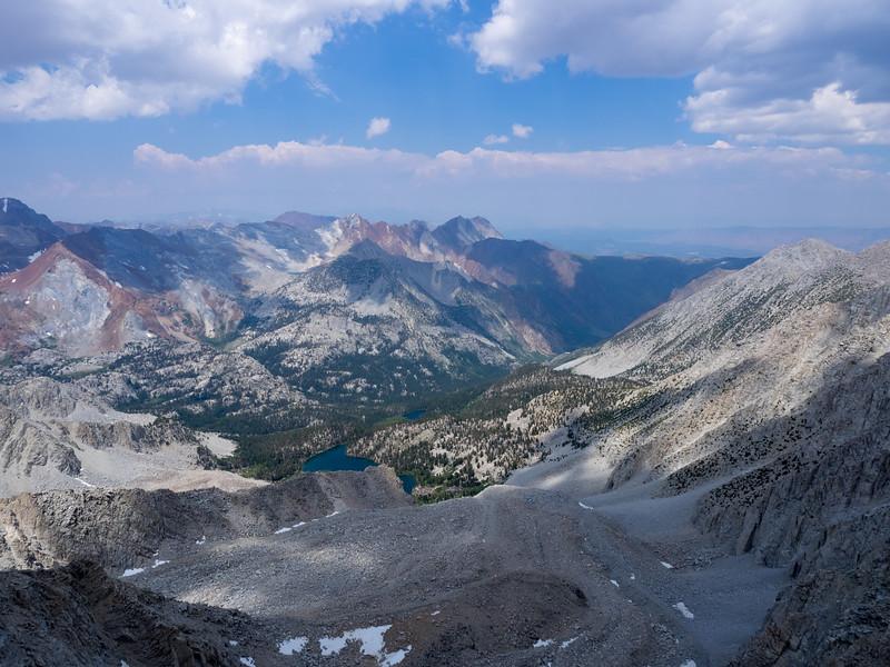 View toward Mounts Morrison and Baldwin and down to Steelhead Lake from the summit ridge.