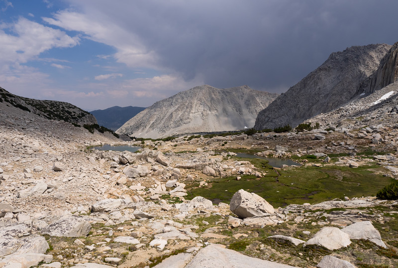Hiking back down the mellow valley toward Hilton Lakes
