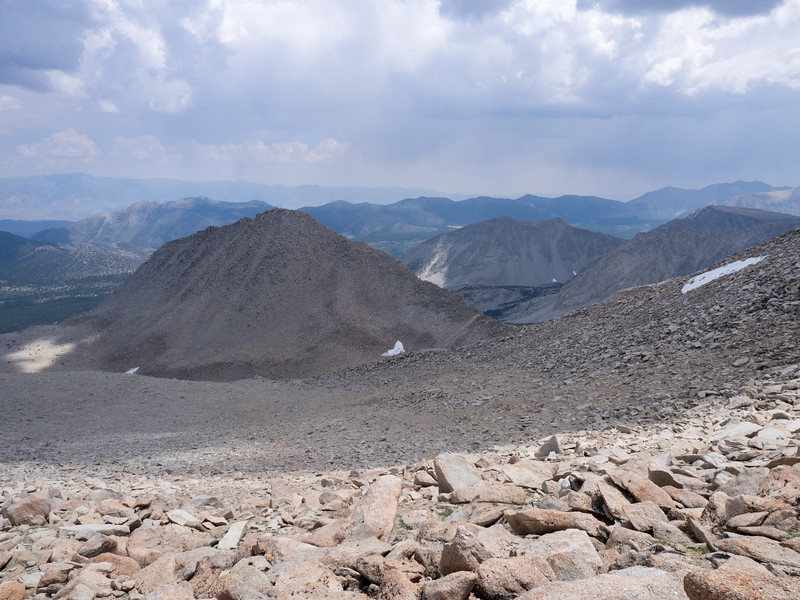 Looking down toward Patricia Peak as I head up to the summit of Stanford