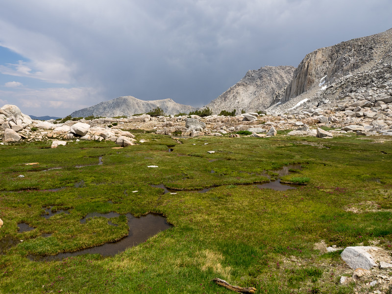 Lots of green and water - nice places to camp in the Valley above Hilton Lakes