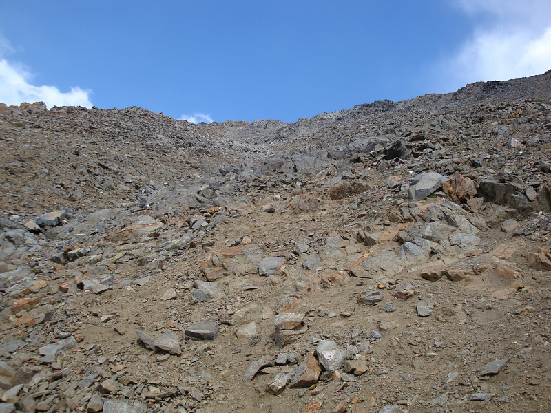 Looking back up at the loose crap above the mine that you go up to the to the summit.