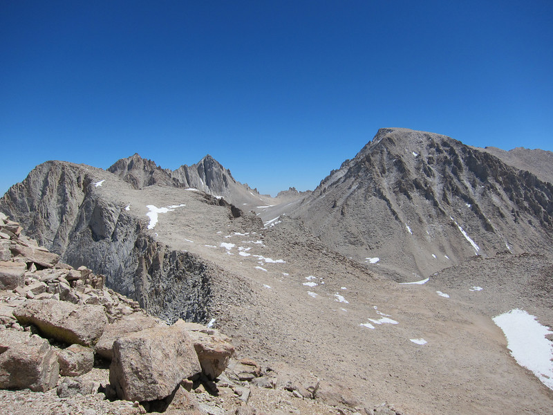 Mount Hale, Mount Morgenson, Mount Russell, and Mount  Whitney (left to right) from Mount Young.