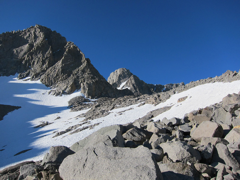 Mount Sill in the center.  You can see the North Couloir (L-Shaped snowfield).