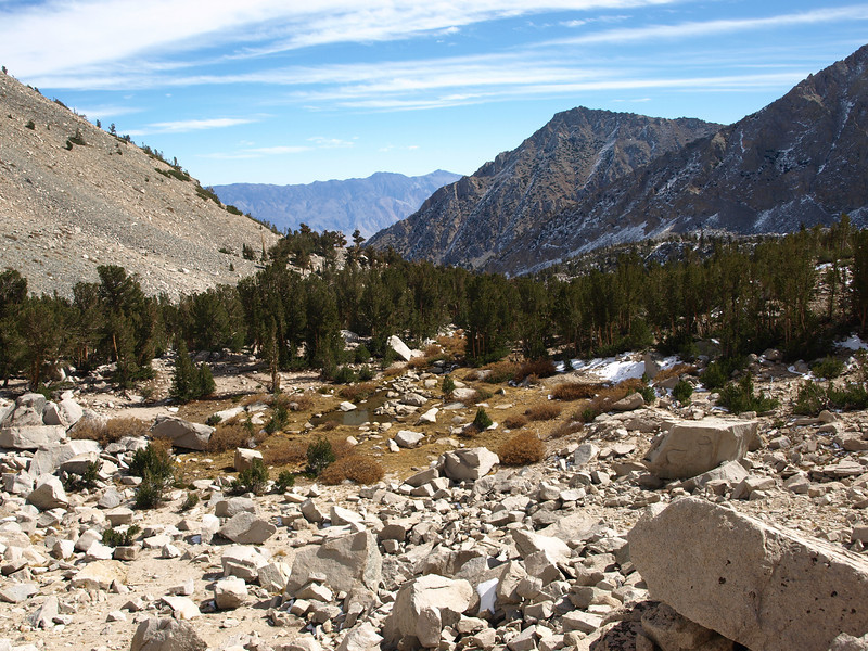 Looking back down the Kearsarge Pass Trail - Independence Peak to the right of center and the Inyos in the distance.