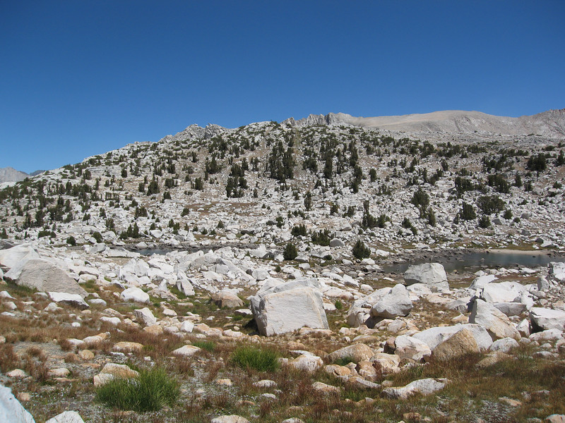 Looking back at the small lakes near Pine Creek Pass as I headed west to Royce Lakes Basin
