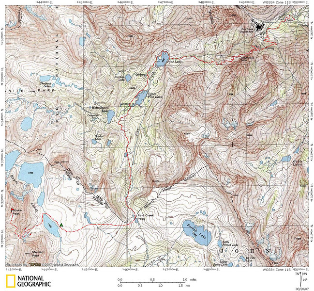 Map of our route (more or less) to Royce Lake 11656' and Royce Peak.