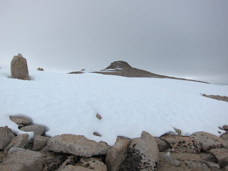 The summit of Barnard comes into view just as the clouds start to look ominous.
