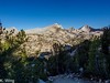 View of Mount Cotter and Mount Clarence King as I climb up and over into Sixty Lakes Basin.