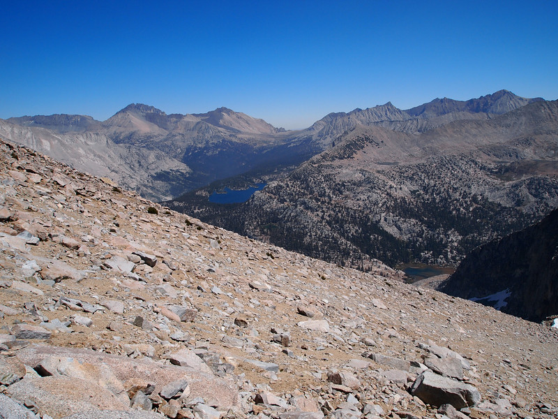 Looking back over to Taboose Pass and Bench Lake as I climb up to Arrow Peak.