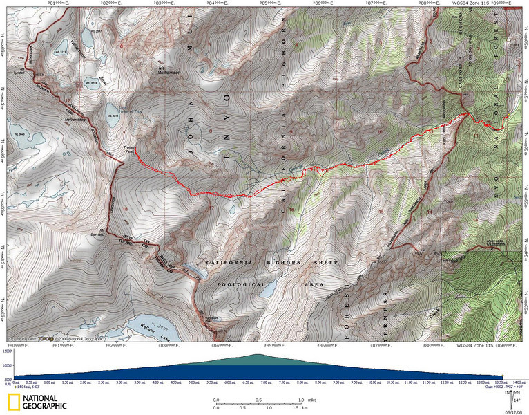 Track of the route taken to Trojan Peak.  About a 14 mile round-trip with 8000 feet elevation gain.