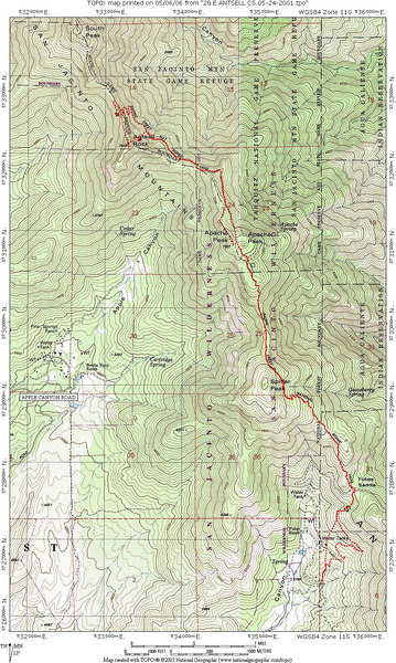 Map of the route of my hike.