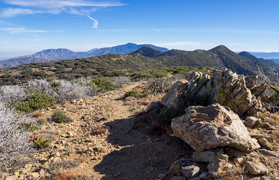 Looking South along the PCT to Pyramid and Pine Peaks along the Divide and Santa Rosa, Toro and Martinez Peaks in the Distance