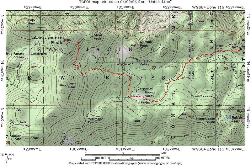 This is the route I took to Mount San Jacinto on 4/1/06.  I followed the trail until Round Valley and then there was no trail to follow, but I was on it at times.