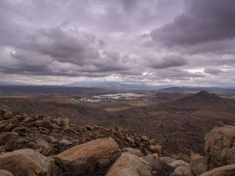 San Jacintos  shrouded in clouds.