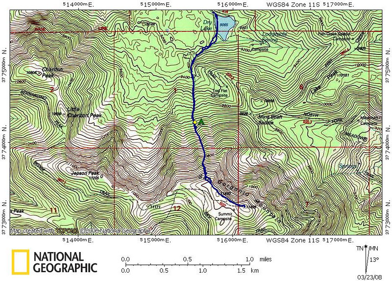 Track of our route from Dry Lake to San Gorgonio and back again to Dry Lake.