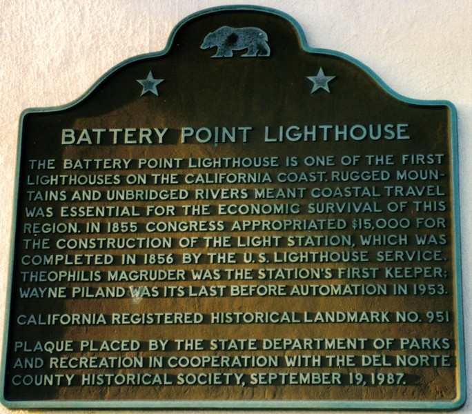 The lighthouse was automated in 1953 and a 375mm lens replaced the Fresnel lens.  The station was leased to the Del Norte Historical Society to be maintained as a museum with live-in curators.  In 1964 a tidal wave generated by an earthquake struck Crescent City destroying a large portion of the town but sparing the lighthouse.  The tidal wave killed eleven town residents.  The light was moved to the end of a nearby breakwater in 1965.