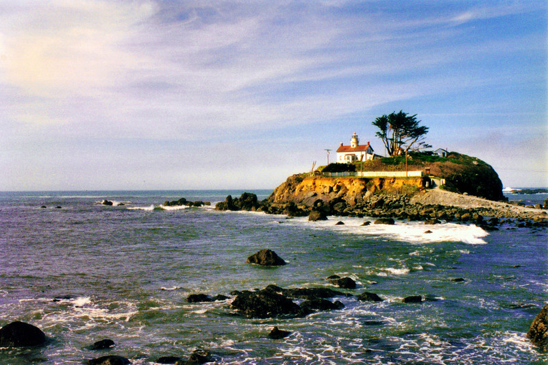When Crescent City incorporated in 1854 it petitioned for a lighthouse to mark its harbor.  In May 1855 Congress appropriated $15,000 for the construction of a station.  The site selected for the lighthouse was a small islet at the harbor entrance.  Luckily the islet was accessible on foot at low tide twice a day which made the transport of construction materials easier.