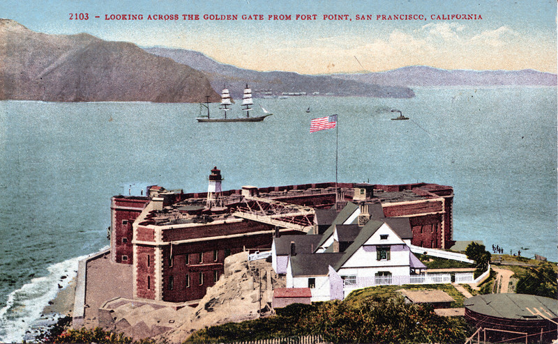 An old postcard view of the fort and the Fort Point Light which shows the Keepers homes and the bridge to the top of the fort.