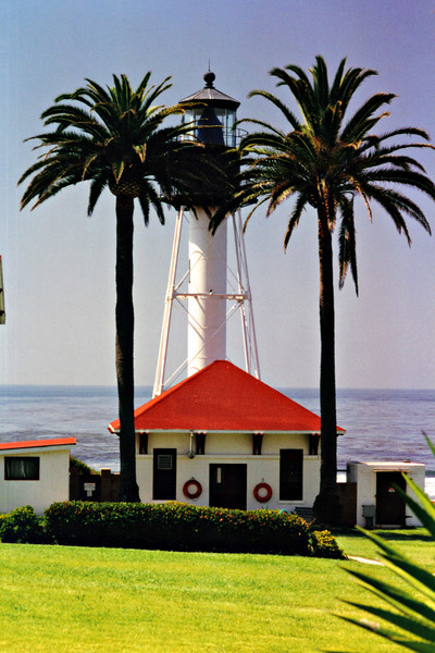 The iron tower was manufactured in Trenton, New Jersey and sent to San Diego by railroad.  A Fresnel lens had been ordered for the tower, however the manufacturer requested that he be allowed to enter the lens in exhibitions.  So the Lighthouse Service obtained a replacement, but it was too big to fit into the lantern.