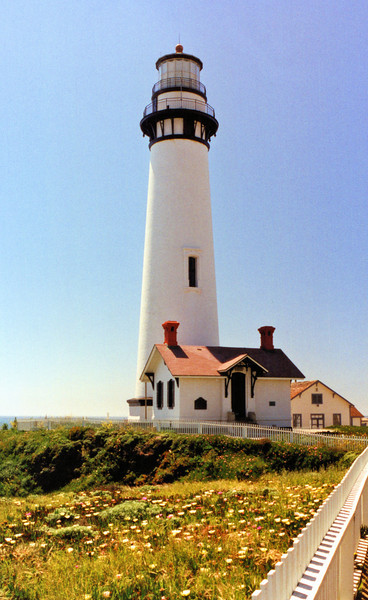 Construction of the Pigeon Point Lighthouse commenced in 1871. The 115 foot brick conical lighthouse was to be the tallest on the west coast along with the light at Point Arena, California. The design used for the light was similar to those used at Bodie Island and Currituck in North Carolina and Yaquina Head in Oregon.
