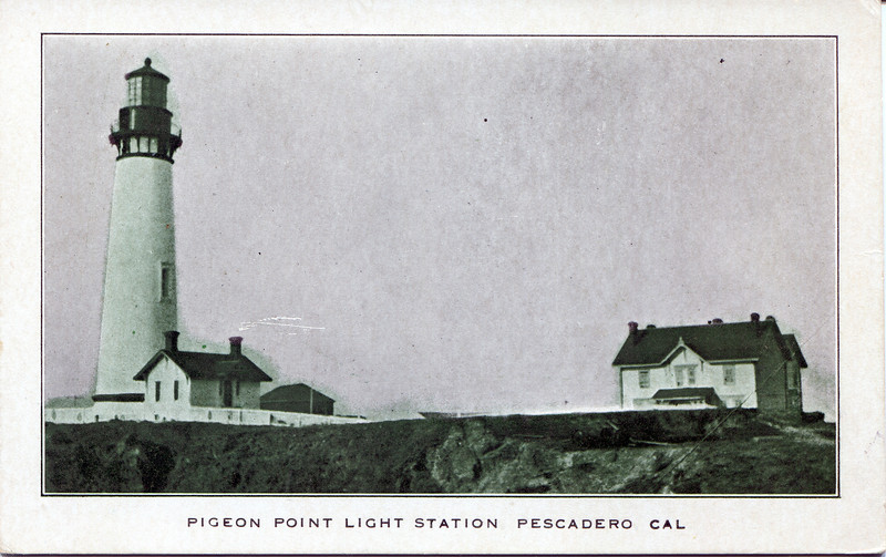 A turn of the century view of the light station showing the original Victorian fourplex which housed the Keeper, his three assistants and their families.