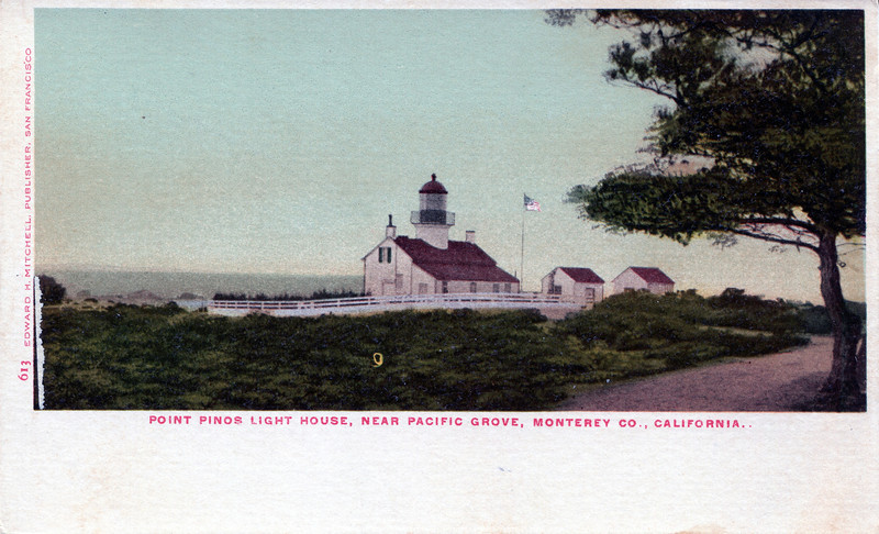 An old postcard view of the Point Pinos Lighthouse