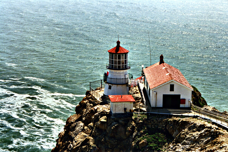 In 1934 the fog signal was relocated to a new building just below the lighthouse.  Electricity came to Point Reyes in 1938 replacing the kerosene lamp.  In 1960 the Coast Guard razed the original Keepers duplex and built a four unit apartment complex on the same site.