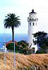 The cylindrical 67 foot Point Vicente Lighthouse was constructed of reinforced concrete.  Electric lights were used at the lighthouse right from the beginning.  An electric generating plant was built to supply power for the station and the light.  On April 14, 1926 the light went into service.