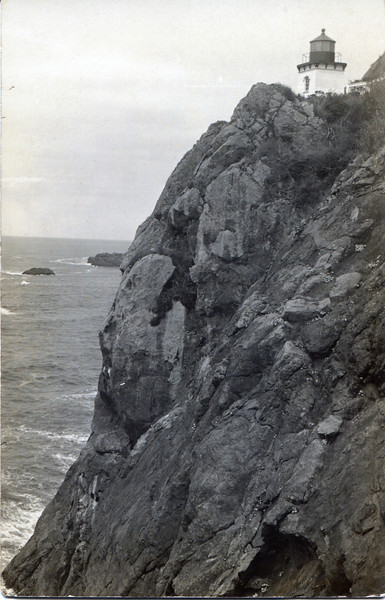 An old postcard view of the Trinidad Lighthouse in California.  The replica light was built based on this structure.